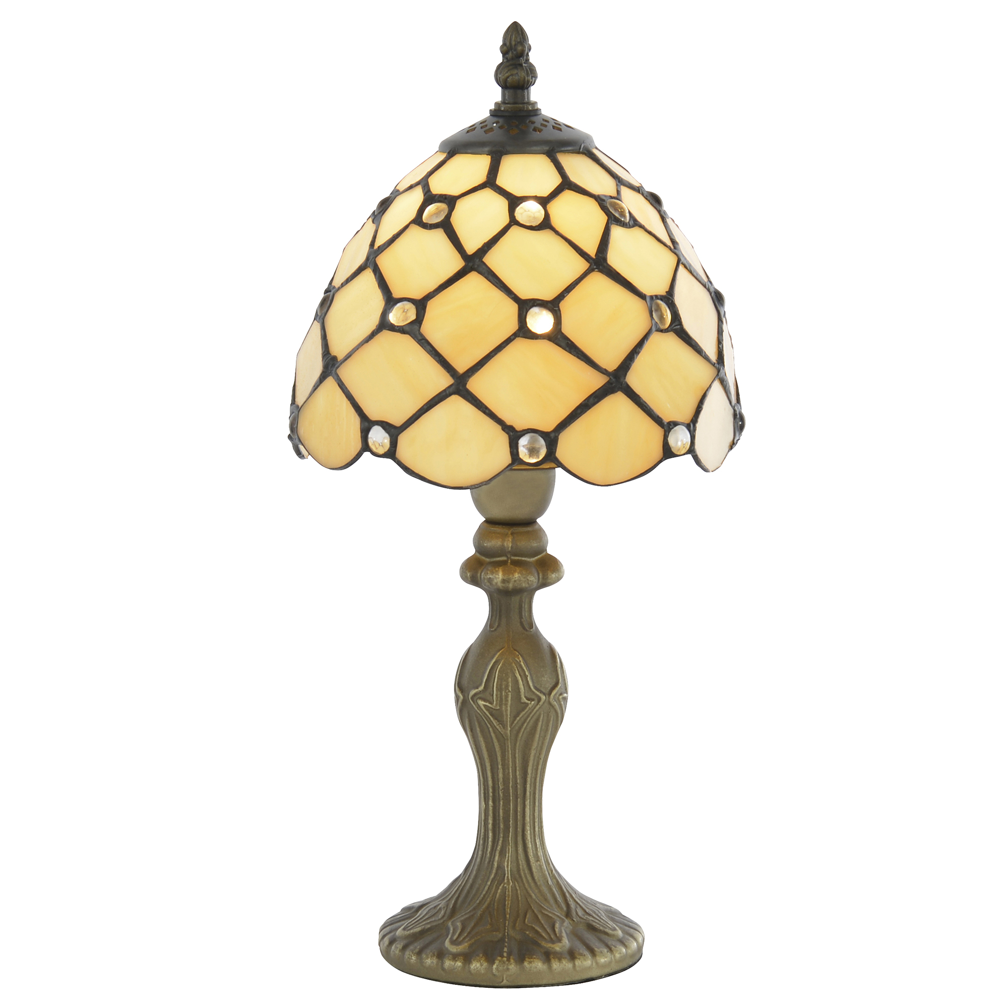 8 Quot Table Lamp 1 Light Tiffany Style Jewel In Honey Shade