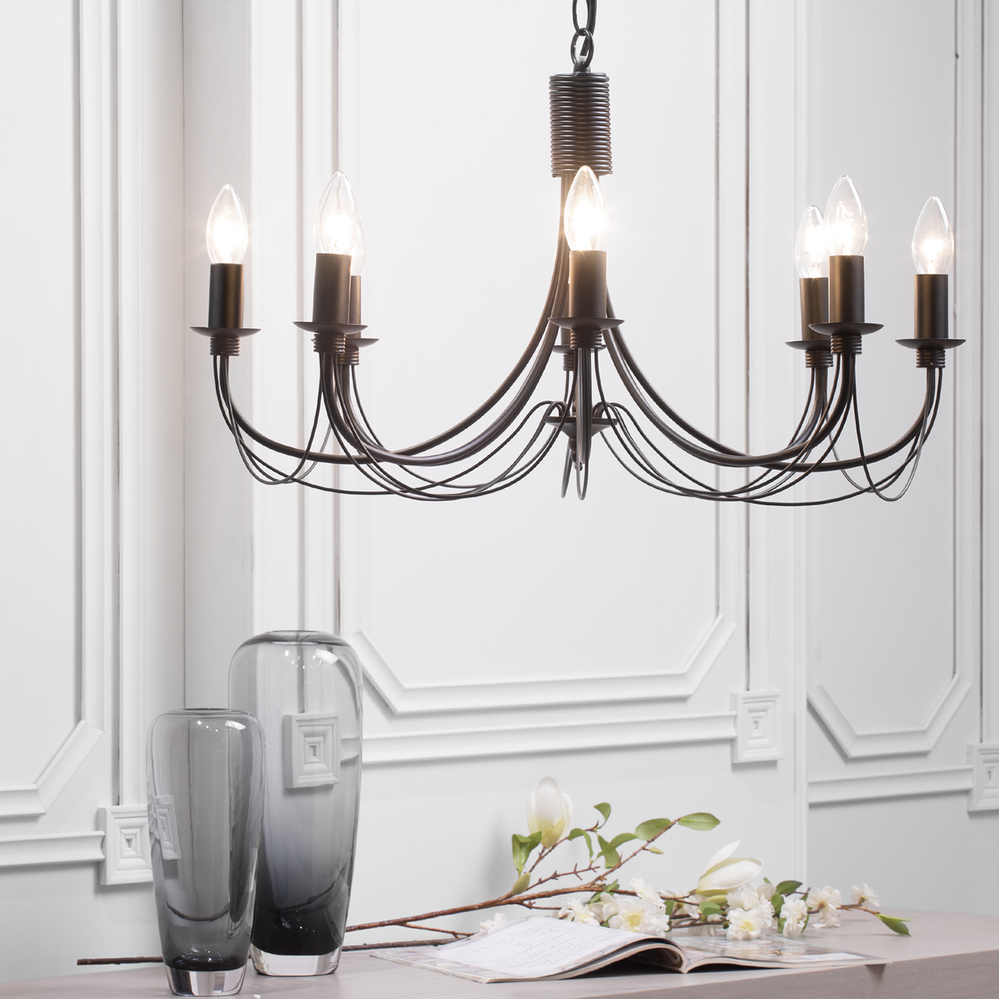 Traditional Chandelier Curved Multi Arm 8 Way Ceiling Lighting