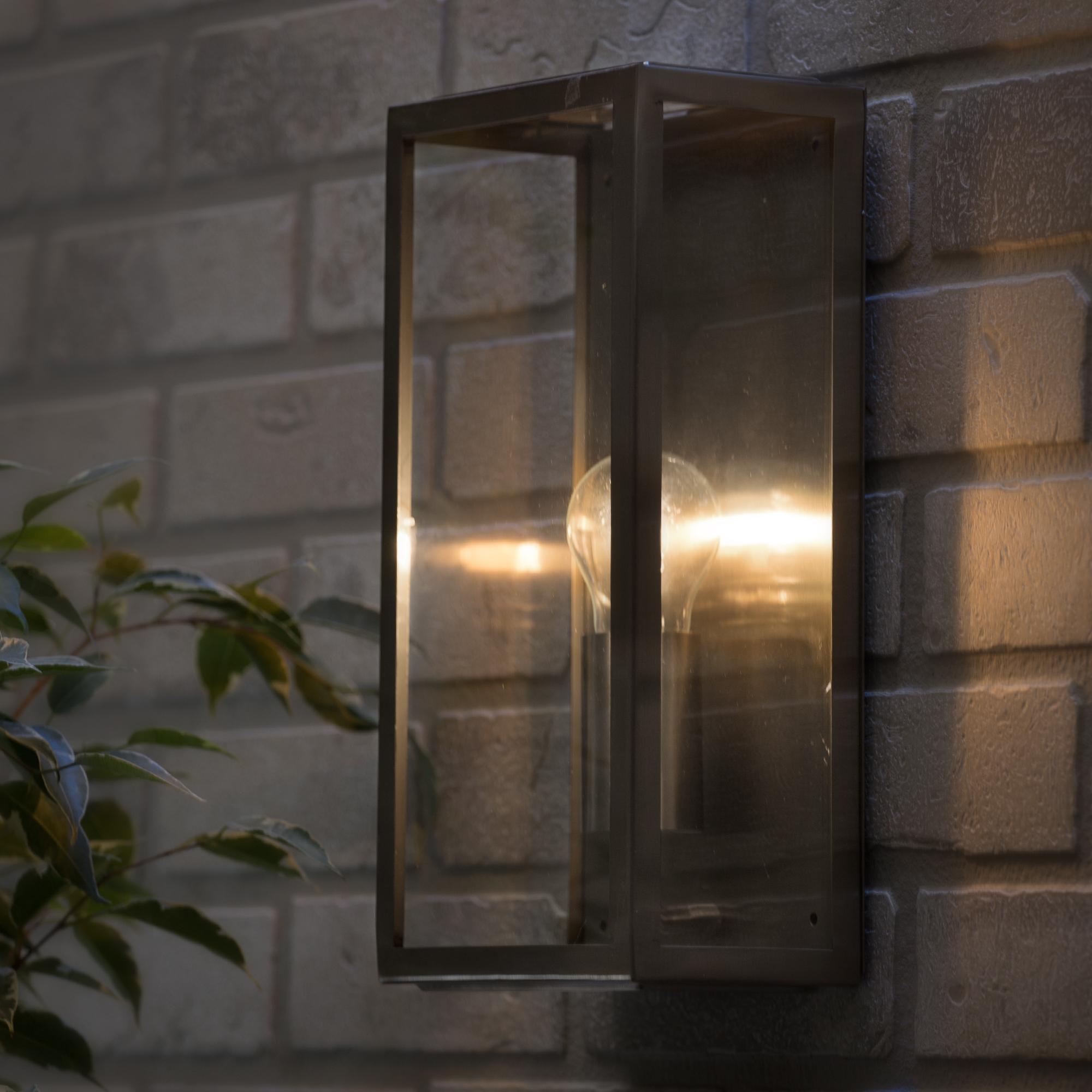 Wall Lights Litecraft : Outdoor IP44 Twin Wall Lantern Modern Garden External Lights Steel Litecraft