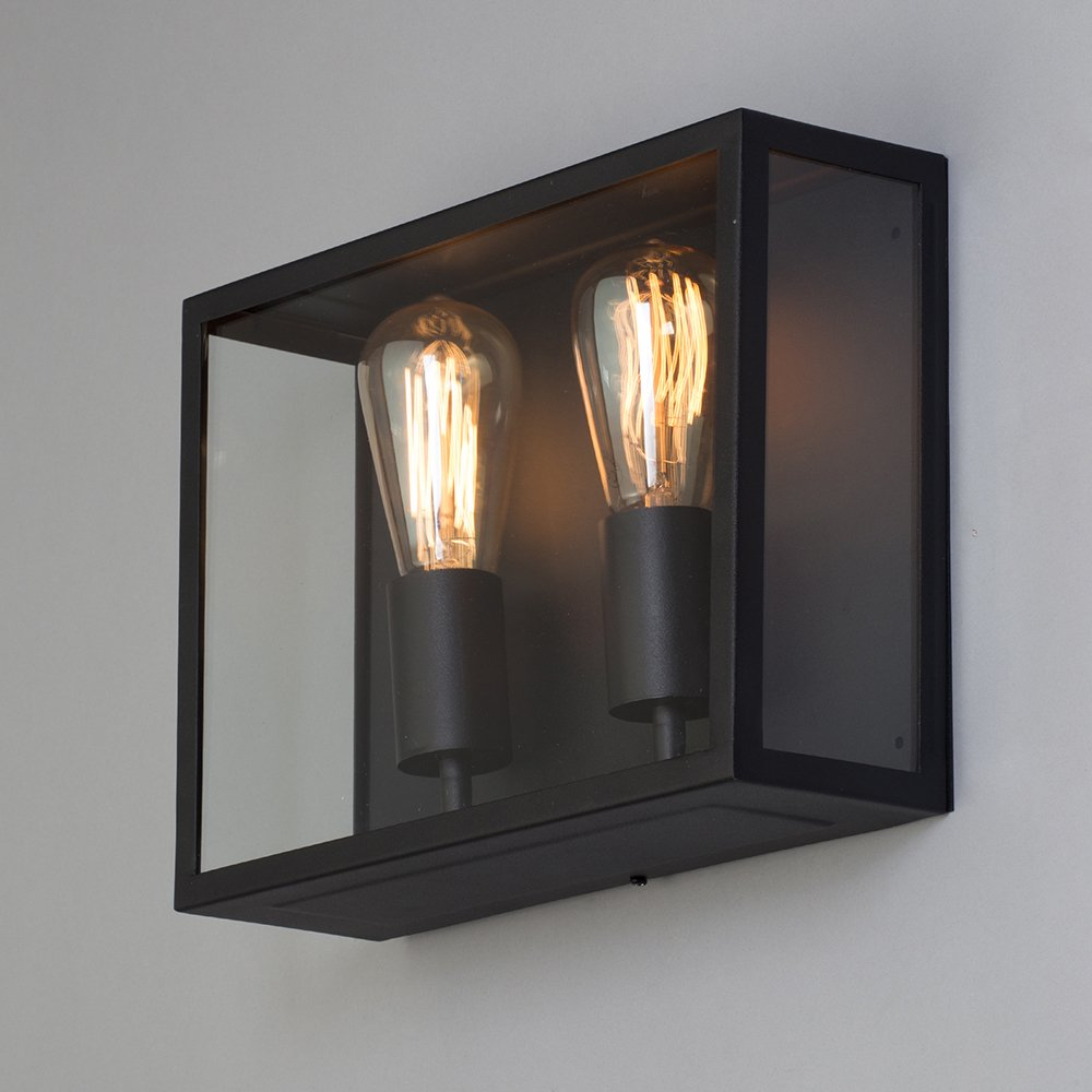 Litecraft Marcey Glass Outdoor IP44 Garden Patio Wall Lantern Light in 2 Colours