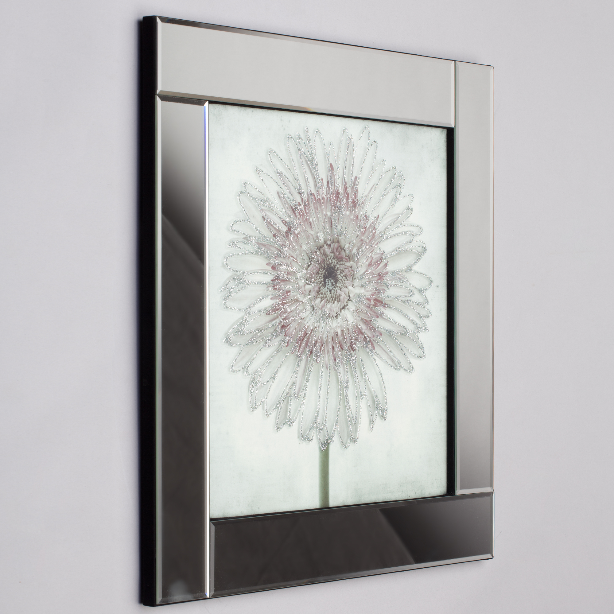 Square Mirror Picture Frame With Glittered Daisy