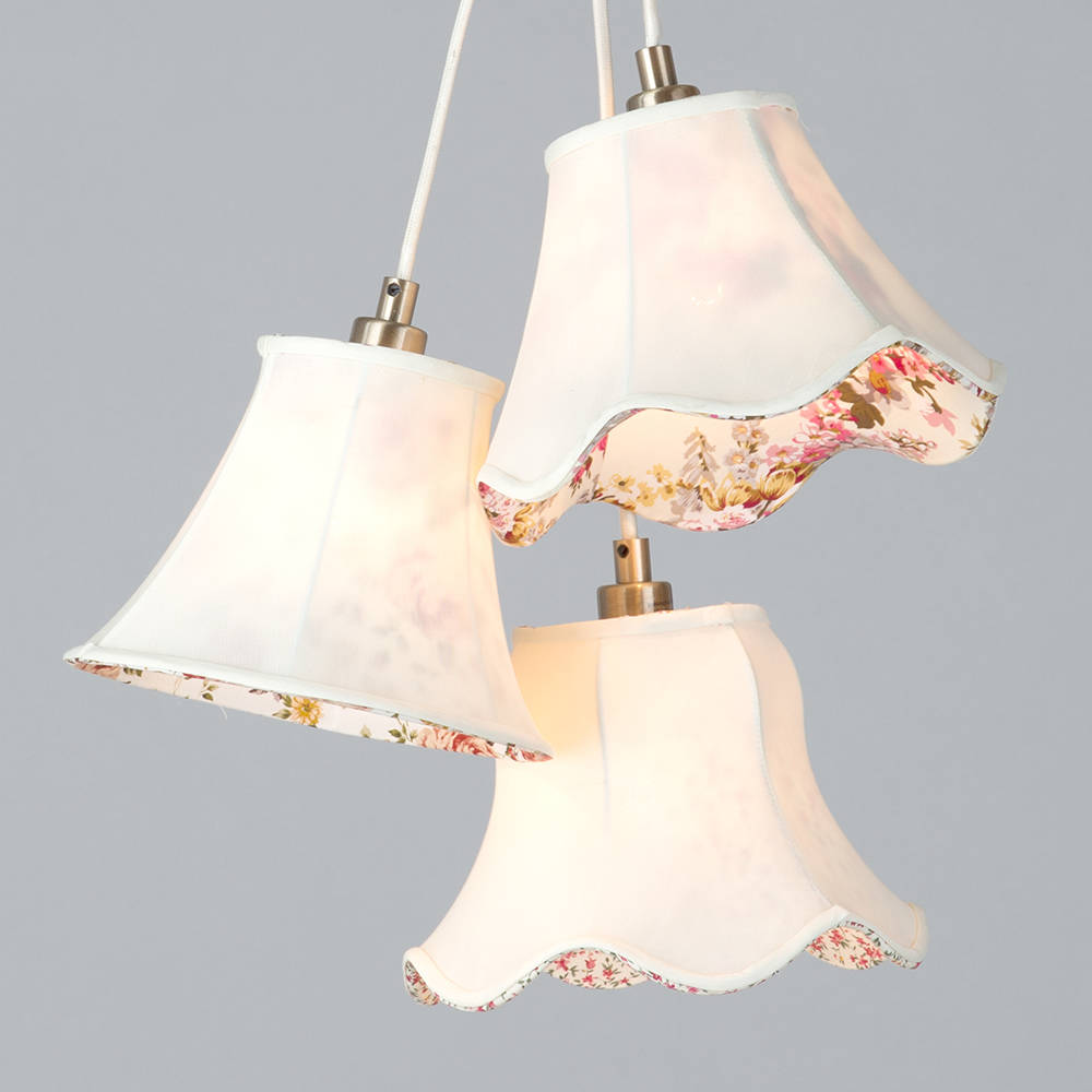 3 light lamp shade floral cluster hanging ceiling light fitting 3 light lamp shade floral cluster hanging ceiling light fitting cream litecraft aloadofball Images