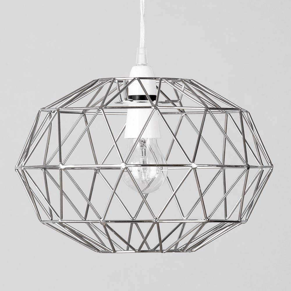 Metal Easy Fit Wire Frame Oval Cage Ceiling Light Shade in Chrome ...
