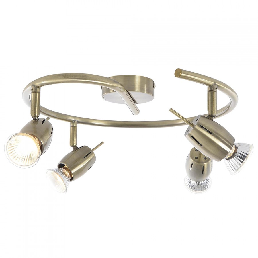 4 way spotlight ceiling light adjustable focus spiral antique brass