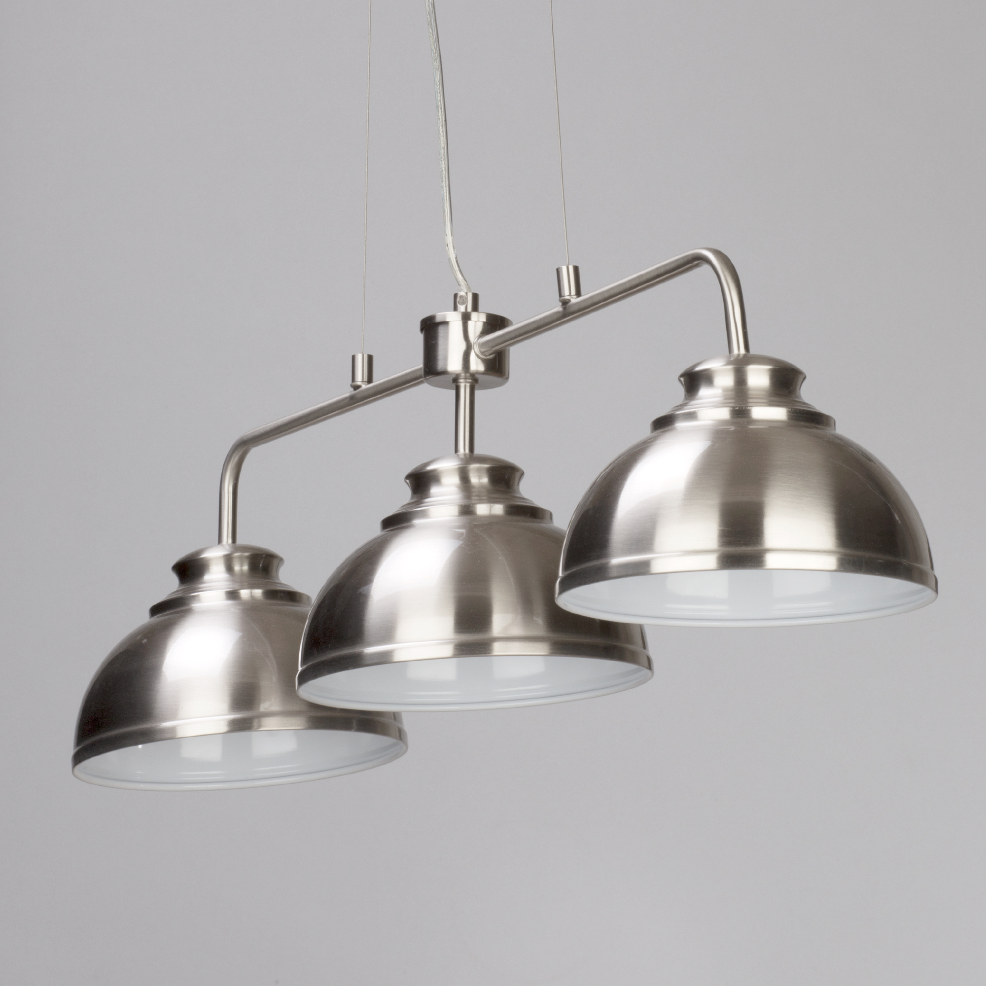 3 Bar Pendant Light Hanging Chrome Effect 3 Way Mounted: 3 Way Ceiling Pendant Bar Hanging Ceiling Fitting In Satin