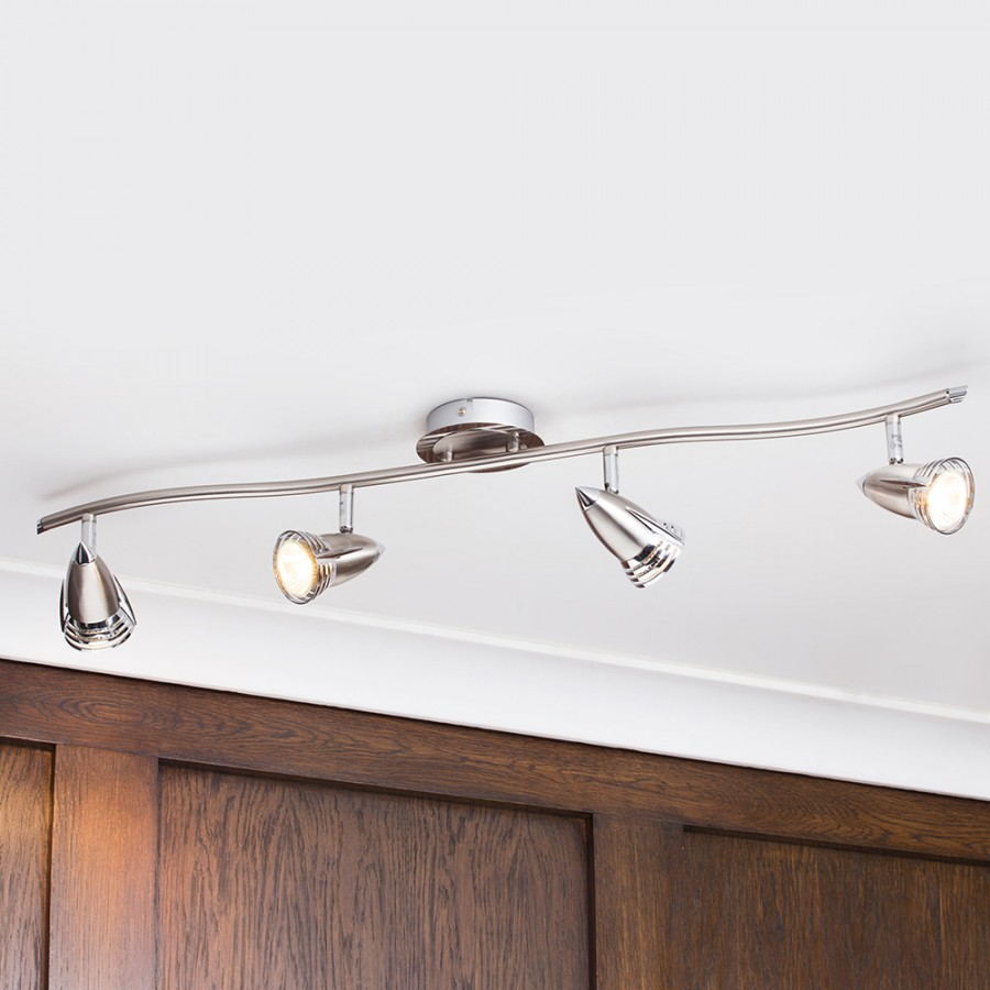 A Guide To Kitchen Lighting From Litecraft: Kitchen Spotlight Bar Nickel Ceiling Contemporary Curved 4