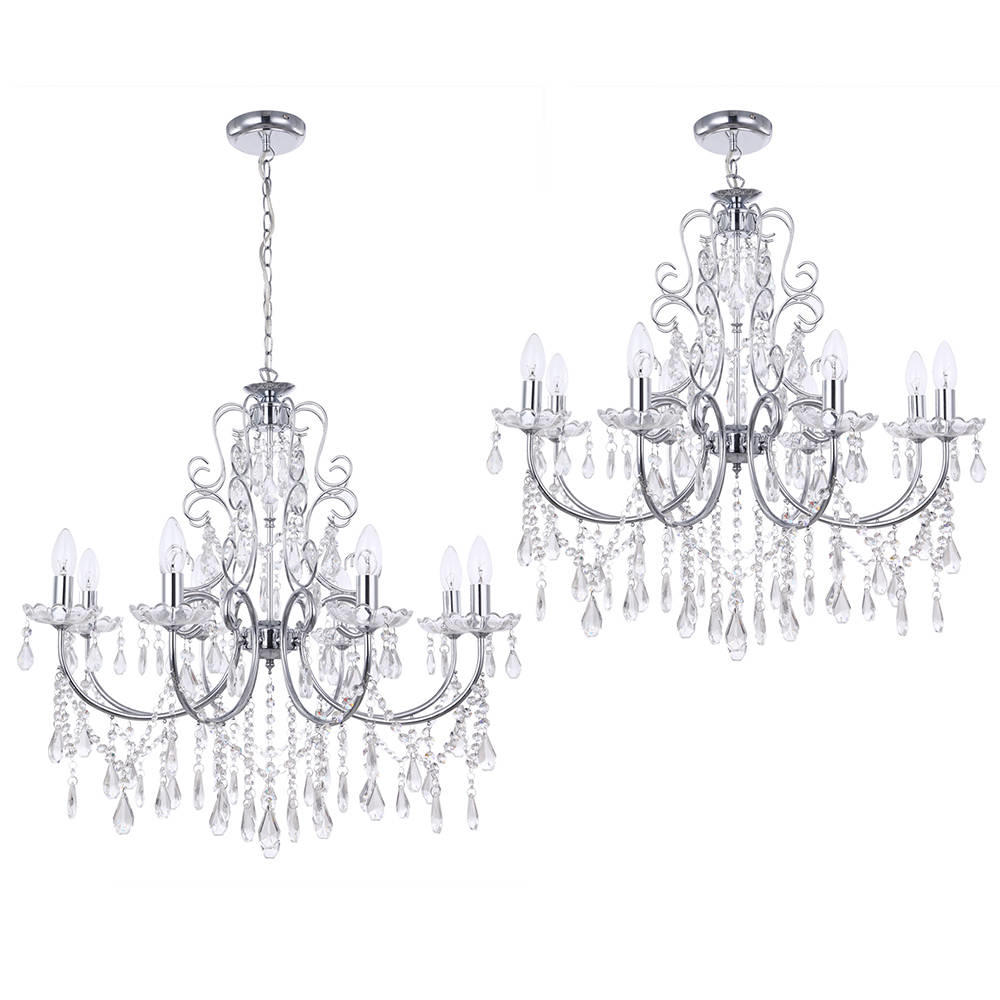 8 light dual mount traditional home chrome chandelier