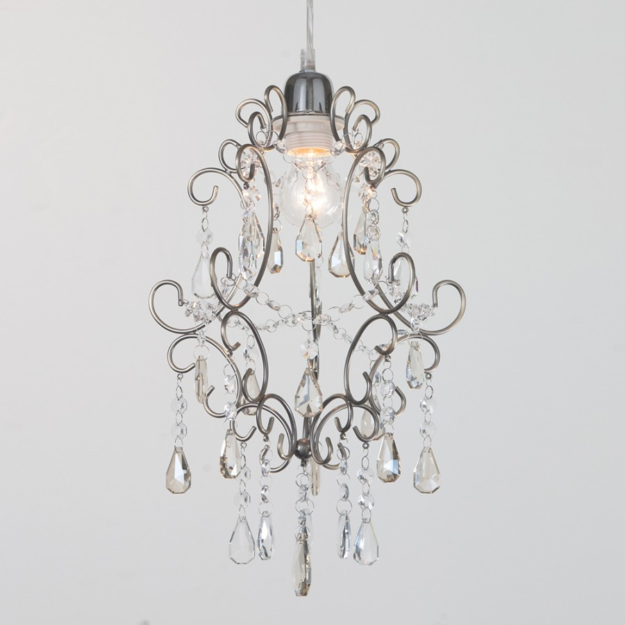 Easy Fit Pendant Shade Chandelier Crystal Droplets Light