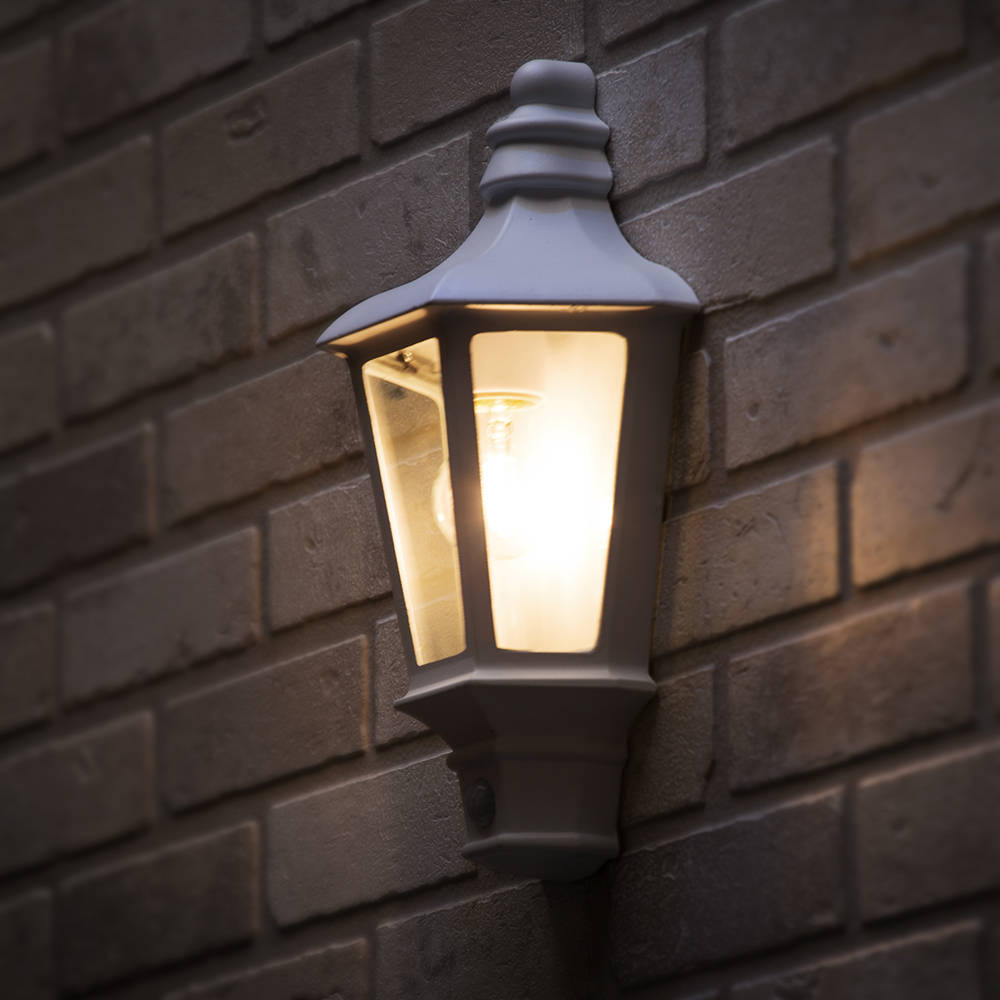Asd Led Half Lantern Outdoor Wall Light With Pir Sensor White Outdoor Lighting Ideas