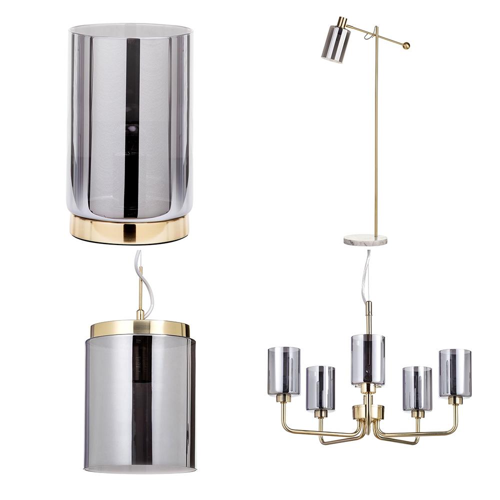 Pendant Floor Lamp: Mid Century Gold Table Lamp, Floor Lamp & 1/ 5 Ceiling