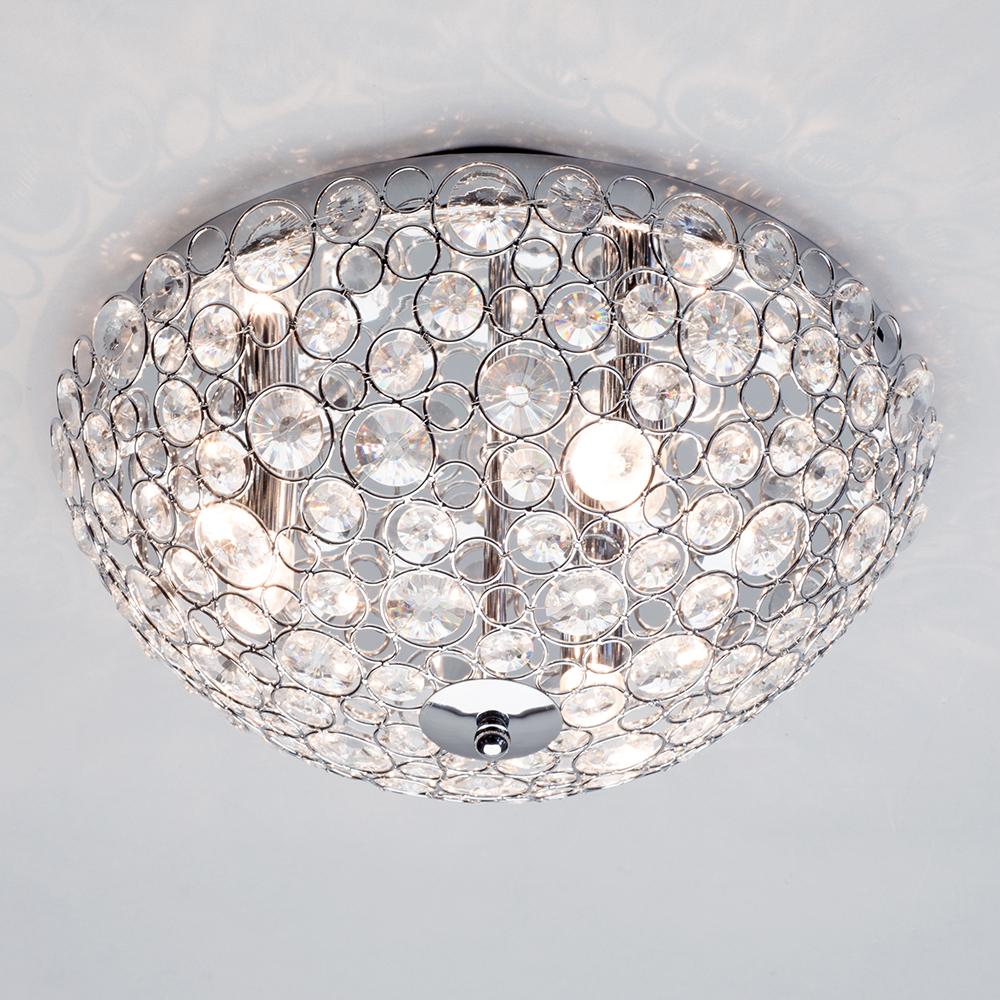 Ip44 3 Light Bathroom Flush Mount Decorative Ceiling Light In Chrome Litecraft Ebay