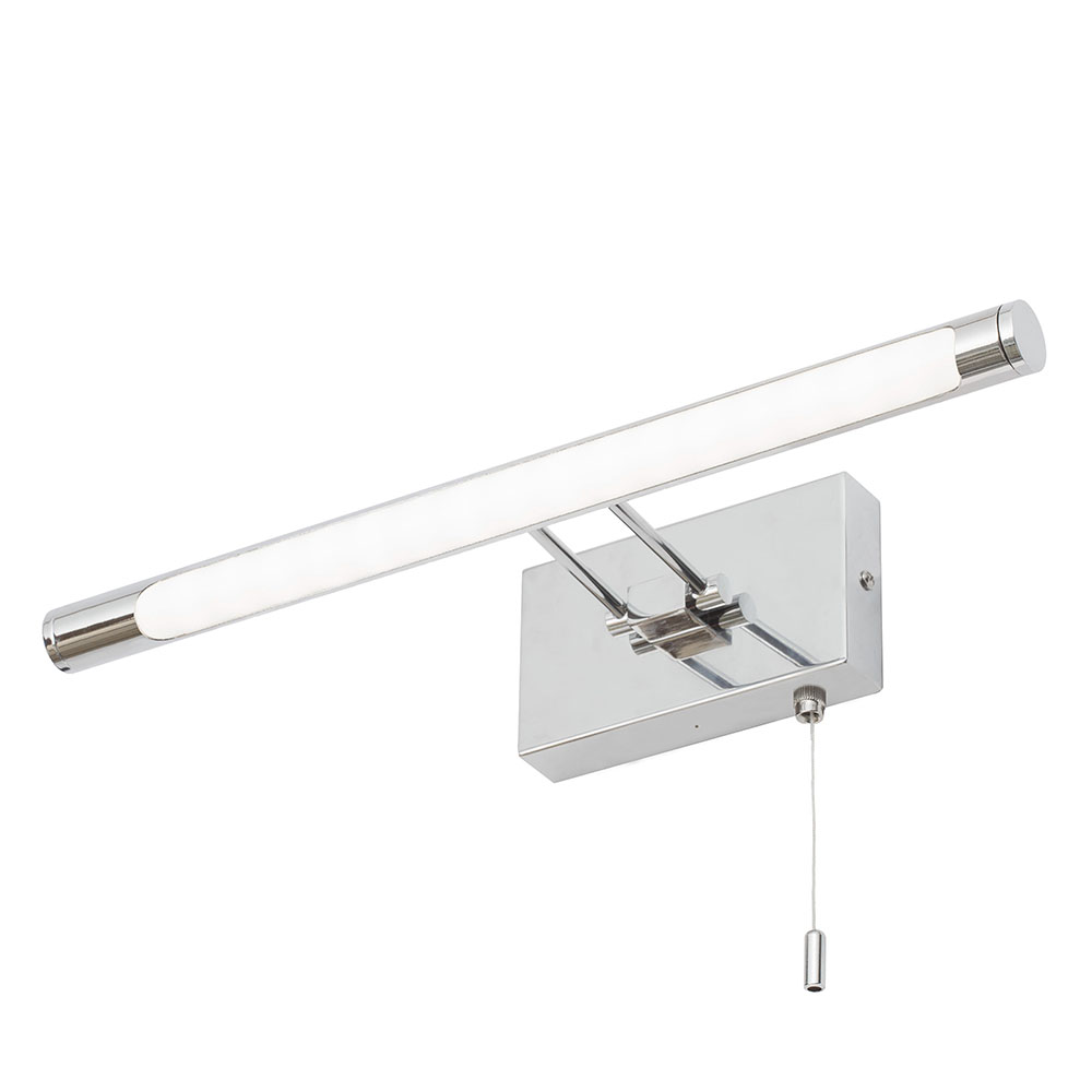 Litecraft IP44 Bathroom LED Picture Mirror Wall Light With Pull Cord In Chrome