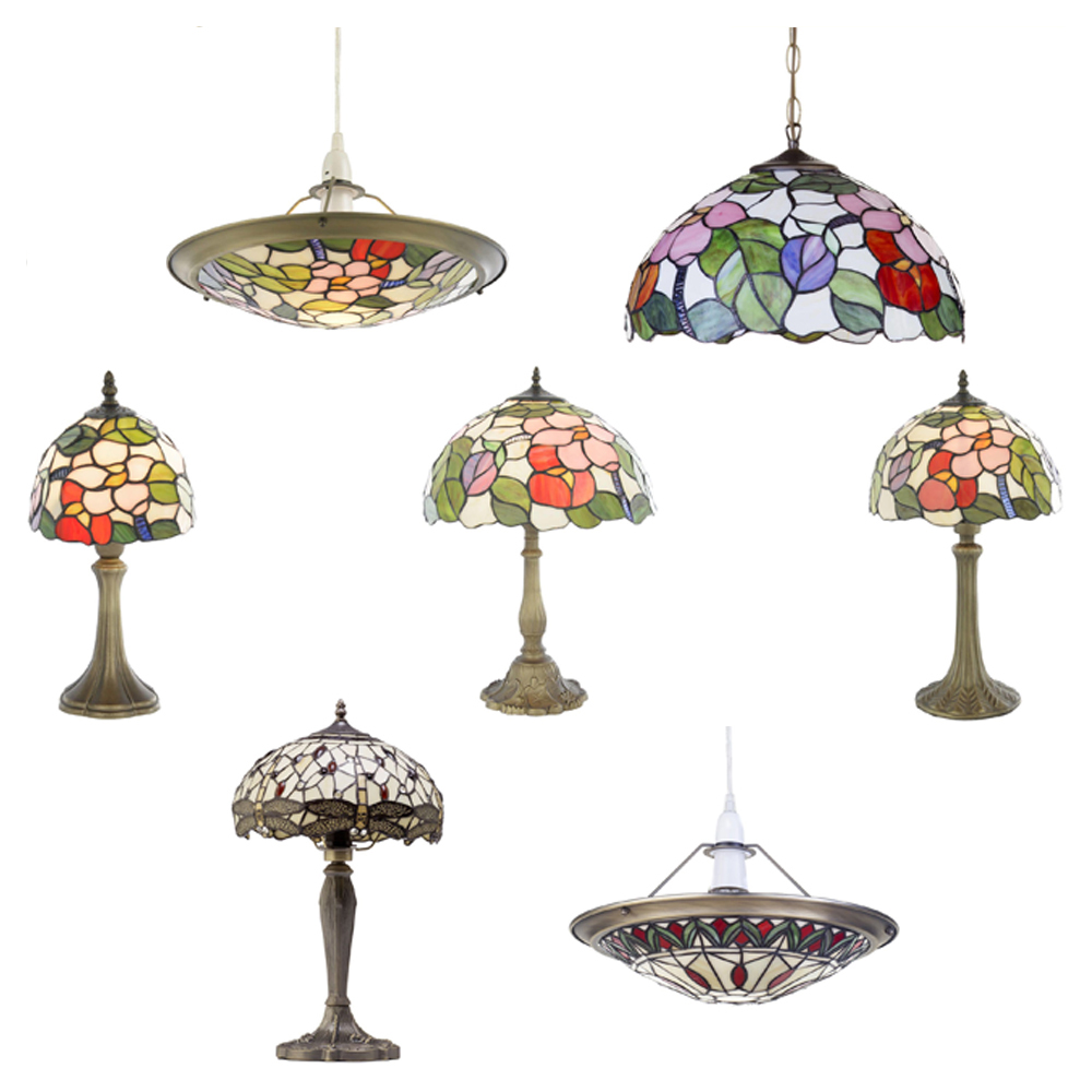 Ceiling Lamp Shades From Next: Floral Tiffany Style Jewel Table Lamp Vase Ceiling Light