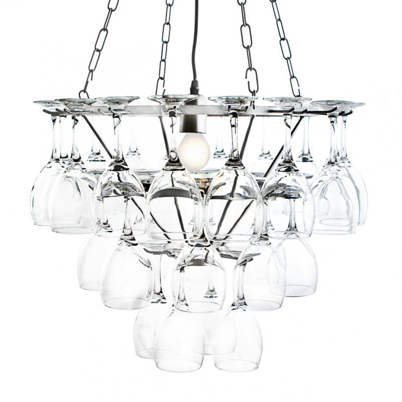 Silver Frame 3 Tier 1 Lt Wine Glass Restaurant Dining Room Chandelier Litecraft