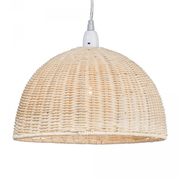 Natural Woven Wooden Easy Fit Pendant Light Rattan Dome