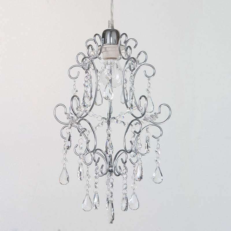 Easy fit pendant shade chandelier crystal effect shade chrome easy fit pendant shade chandelier crystal effect shade chrome fitting litecraft mozeypictures Gallery