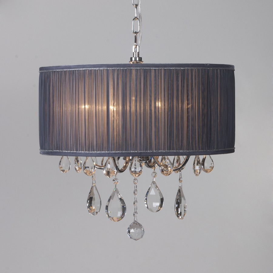 Pleated chandelier 4 light shade luxury home lighting pendant grey pleated chandelier 4 light shade luxury home lighting pendant grey litecraft aloadofball Image collections