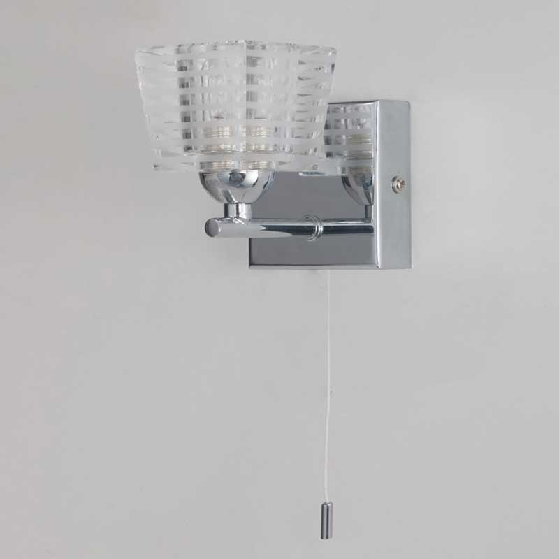 1 Light Bathroom Ip44 Wall Light Chrome With Pull Switch